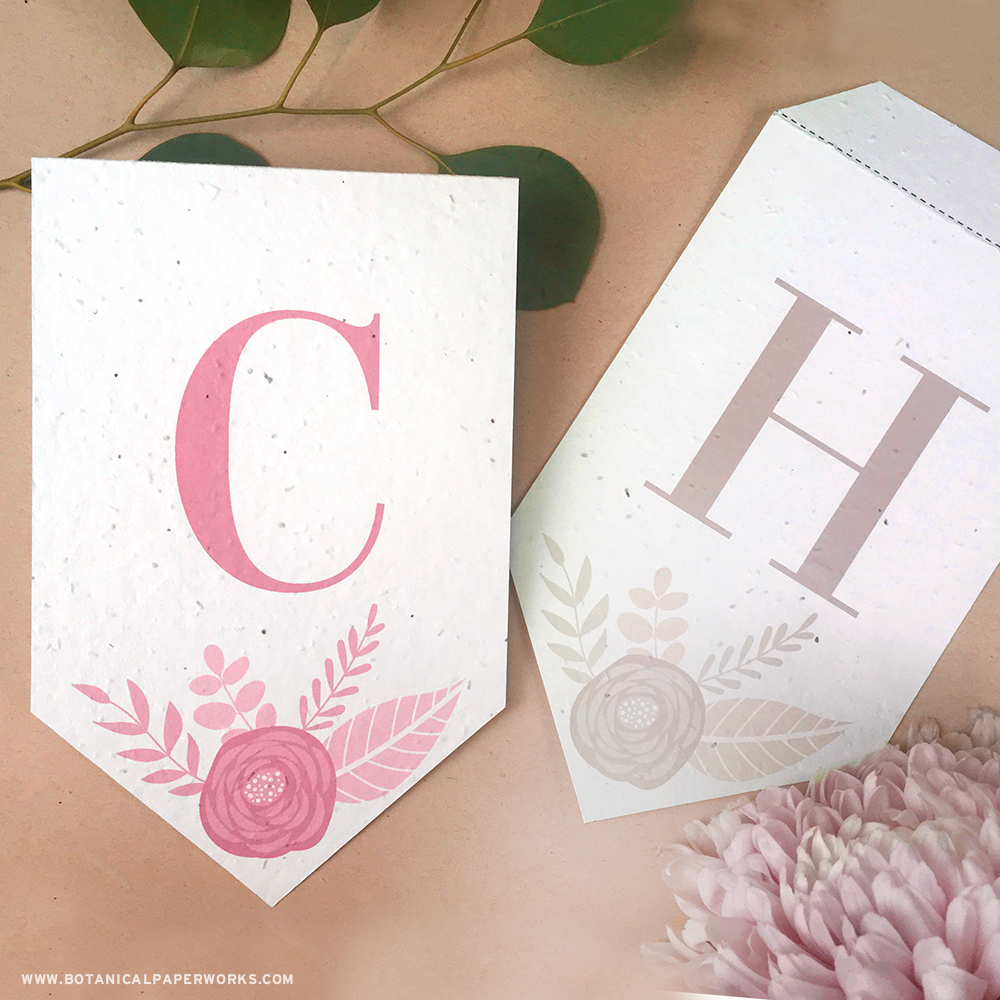 Whether it's an anniversary party, wedding, baby or bridal shower, you can print the letters of your choice to decorate your event with these floral letter banner free printables.
