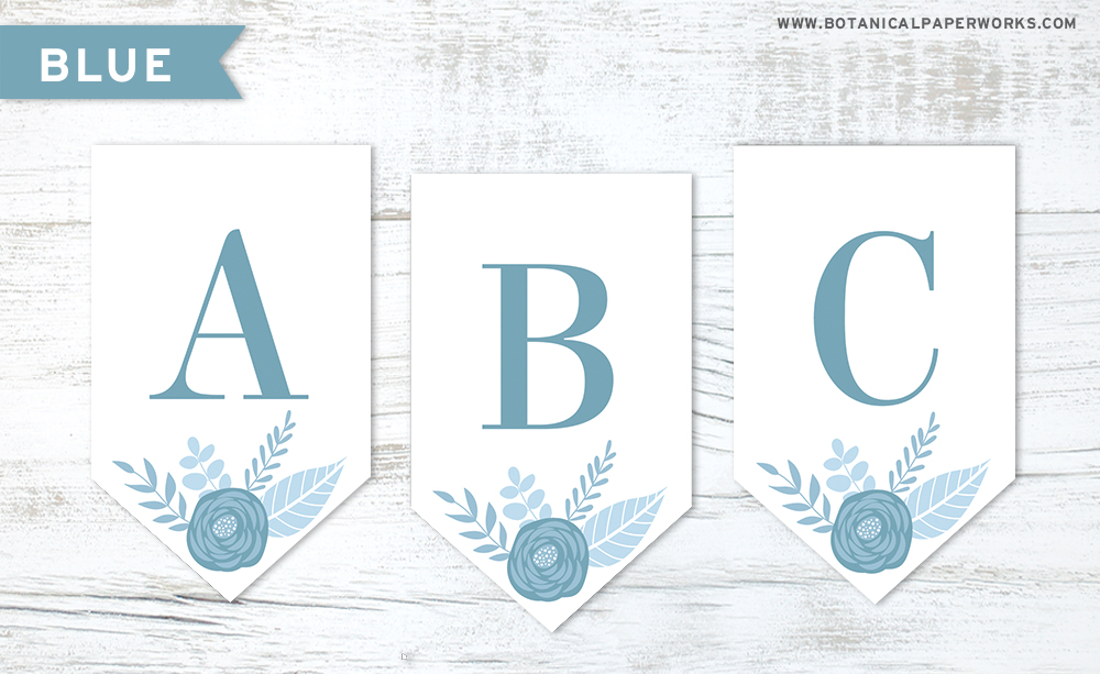 Download this blue floral letters free printable to make your own banner decoration for any occasion.