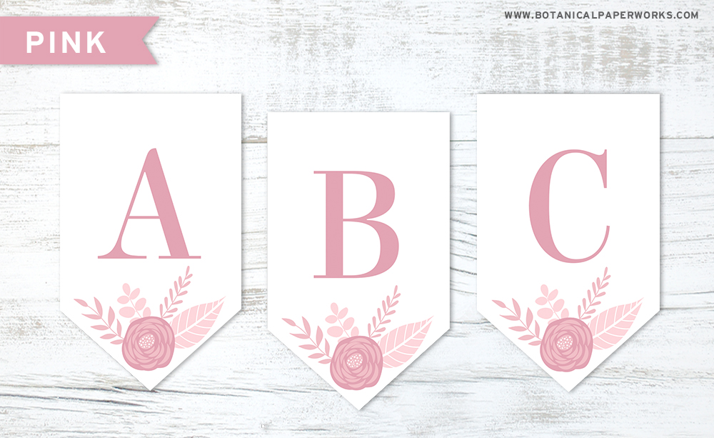 Download this pink floral letters free printable to make your own banner decoration for any occasion.