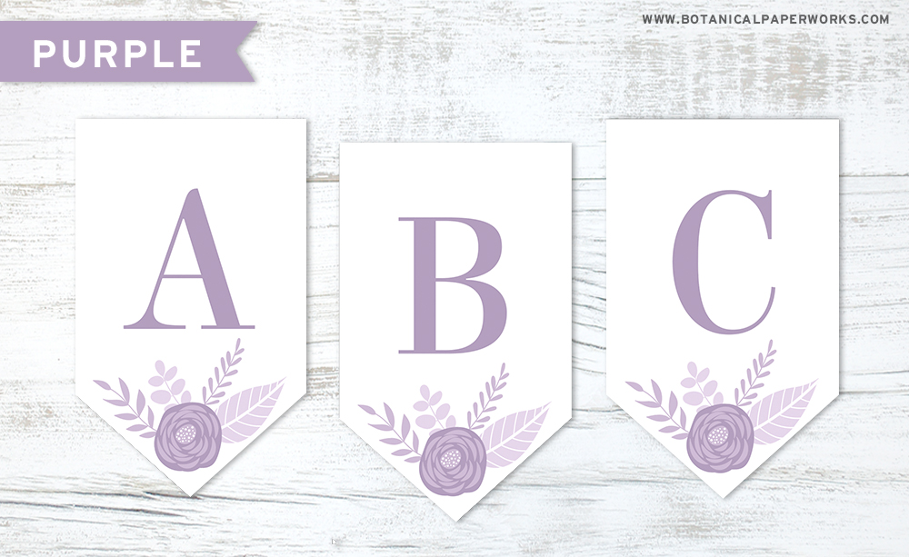 Download this purple floral letters free printable to make your own banner decoration for any occasion.