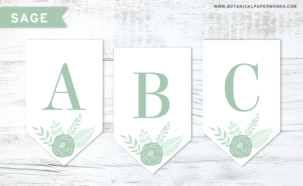 Download this sage green floral letters free printable to make your own banner decoration for any occasion.