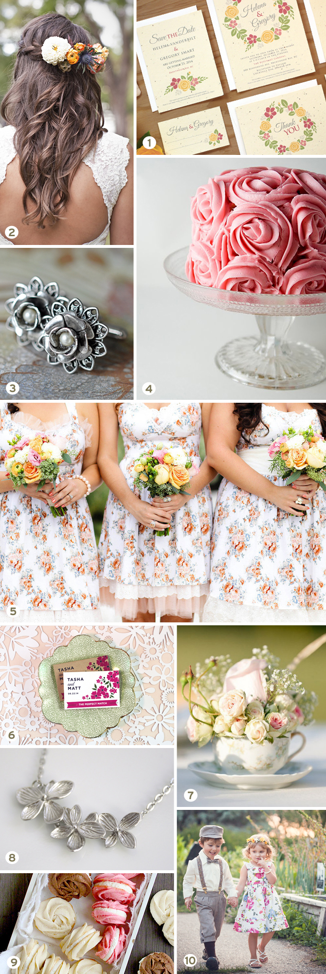 A beautiful floral-themed wedding inspiration board, from favors to flowers and more.