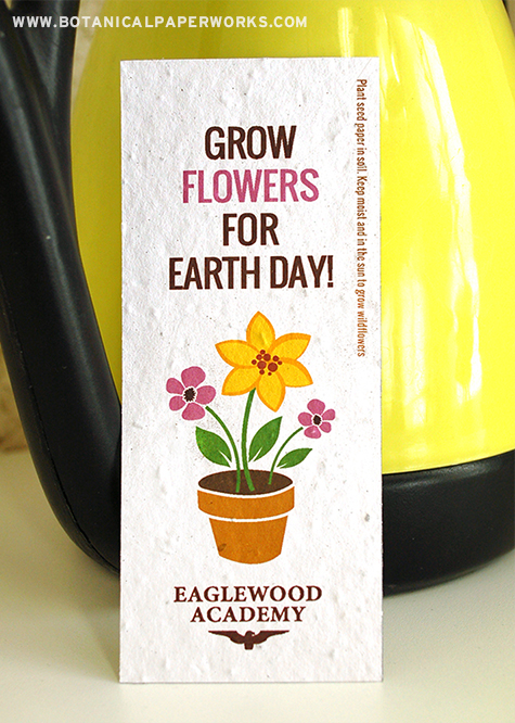 We're offering Free Earth Day Graphics for innovate seed paper promotional products like these bookmarks!