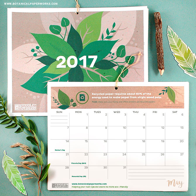 Live green and love the Earth with this vibrant Free Printable 2017 Eco Tips Calendar that includes eco-facts, quotes and tips to go green. Simply download and print the PDF at home!