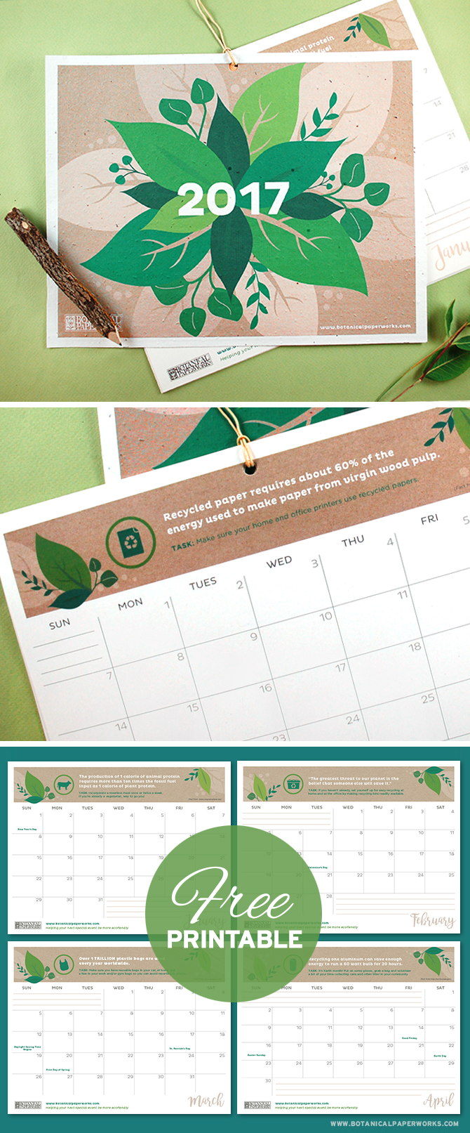 With facts, quotes and tips to help you live a more eco-friendly life, this vibrant Free Printable 2017 Eco Tips Calendar is perfect for those who want to plan a greener future. Simply download and print the PDF at home!