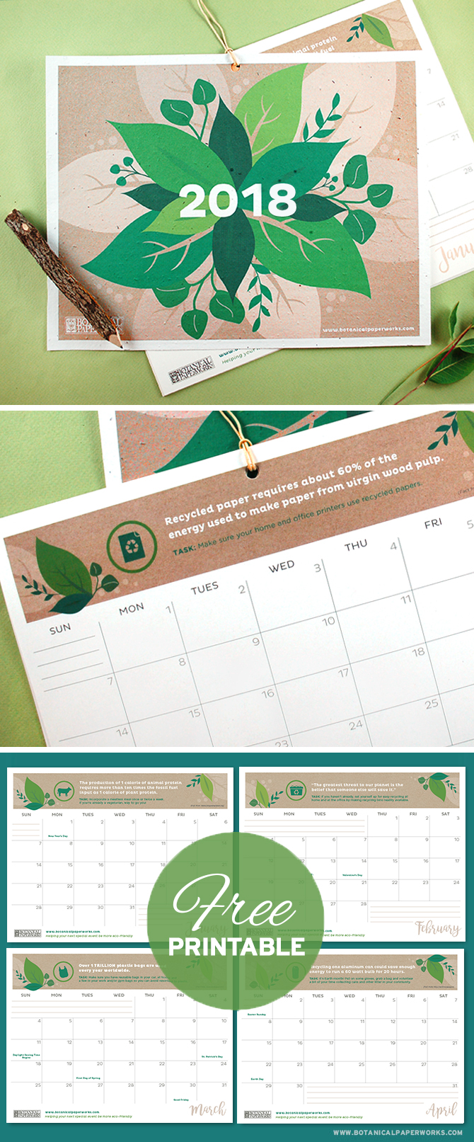 With facts, quotes and tips to help you live a more eco-friendly life, this vibrant Free Printable 2018 Eco Tips Calendar is perfect for those who want to plan a greener future. Simply download and print the PDF at home!