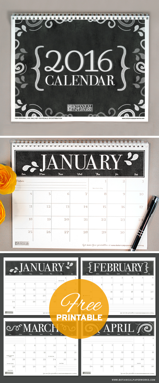 With a black and white color scheme, this 2016 #Chalkboard #Calendar is perfect for people who love simple and stylish #designs. Download your #freeprintable now!