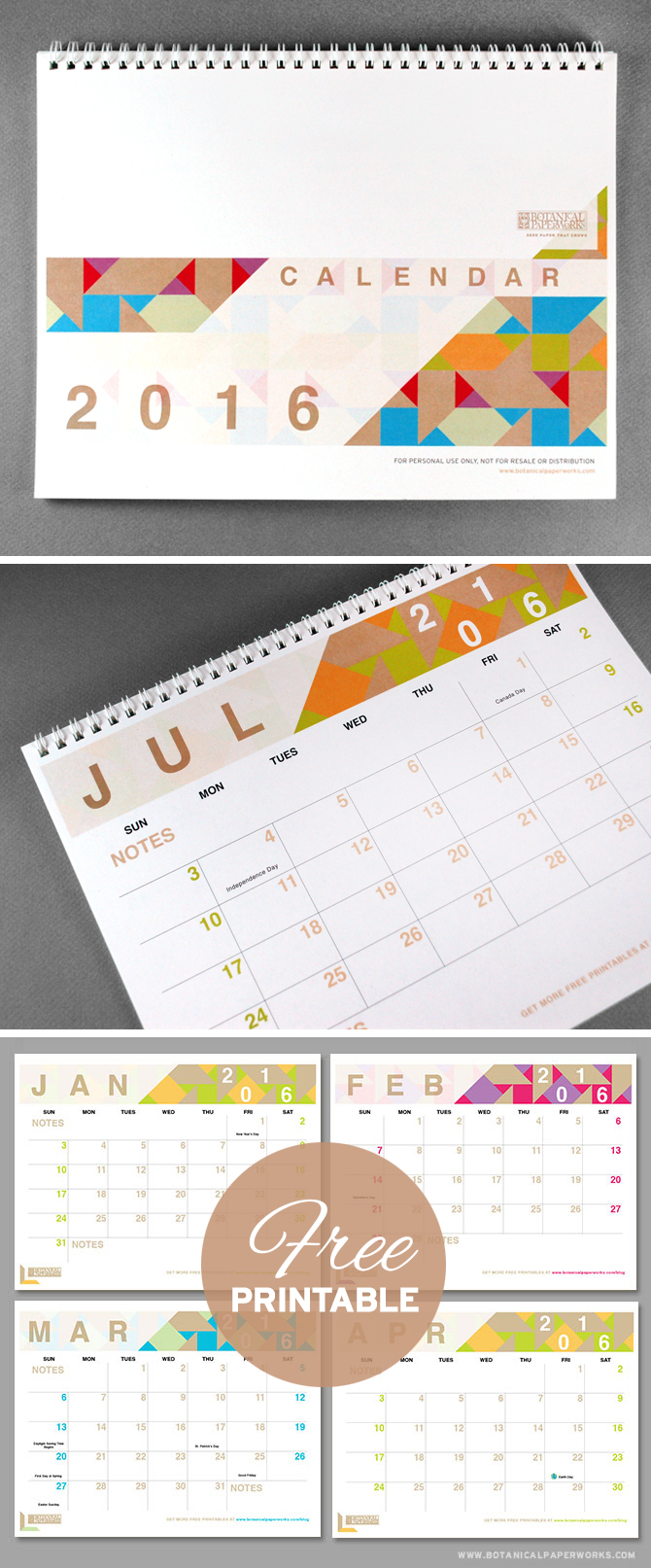With bright pops of colour and a chic shapes and designs, the #Geometric #Calendar is another one of our most popular #freeprintables that we're excited about offering for the year #2016. Download yours now!