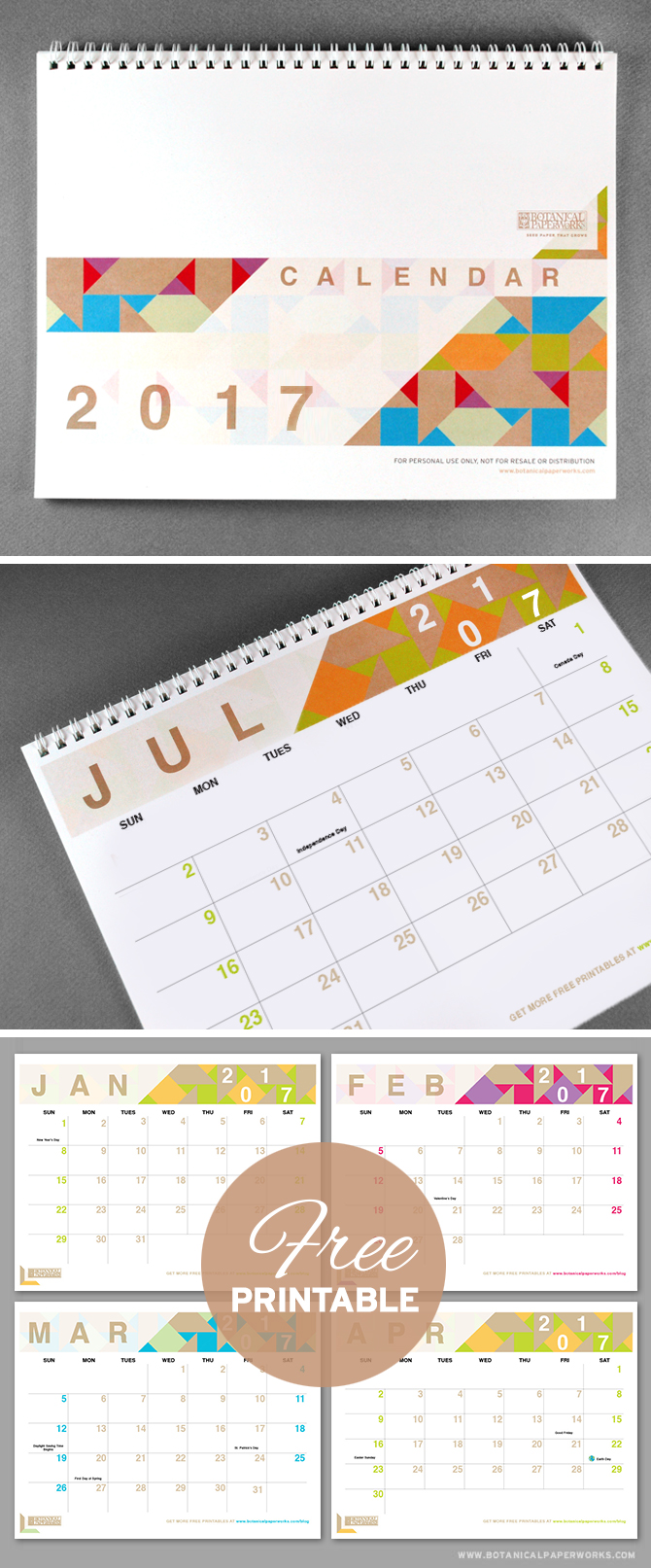 With bright pops of colour and a chic modern design, this 2017 free printable is perfect for capturing all of life's important dates. See more designs and download your favorite 2017 calendar on our blog!