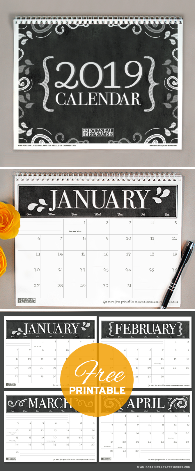 With a sophisticated black and white chalkboard design, this 2019 free printable calendar is perfect for home or office use. See more designs and download your favorite 2019 calendar on our blog!