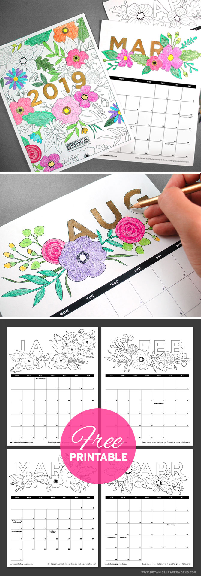 Satisfy the child within and plan for 2019 with this fun Free Printable Coloring Book Calendar! It's filled will floral illustrations that you can color in.