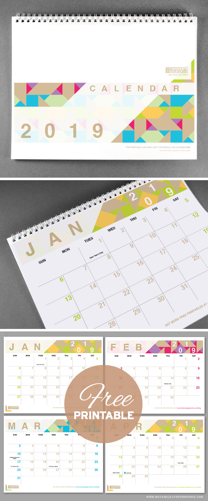 With bright pops of colour and a chic modern design, this 2019 free printable is perfect for capturing all of life's important dates. See more designs and download your favorite 2019 calendar on our blog!