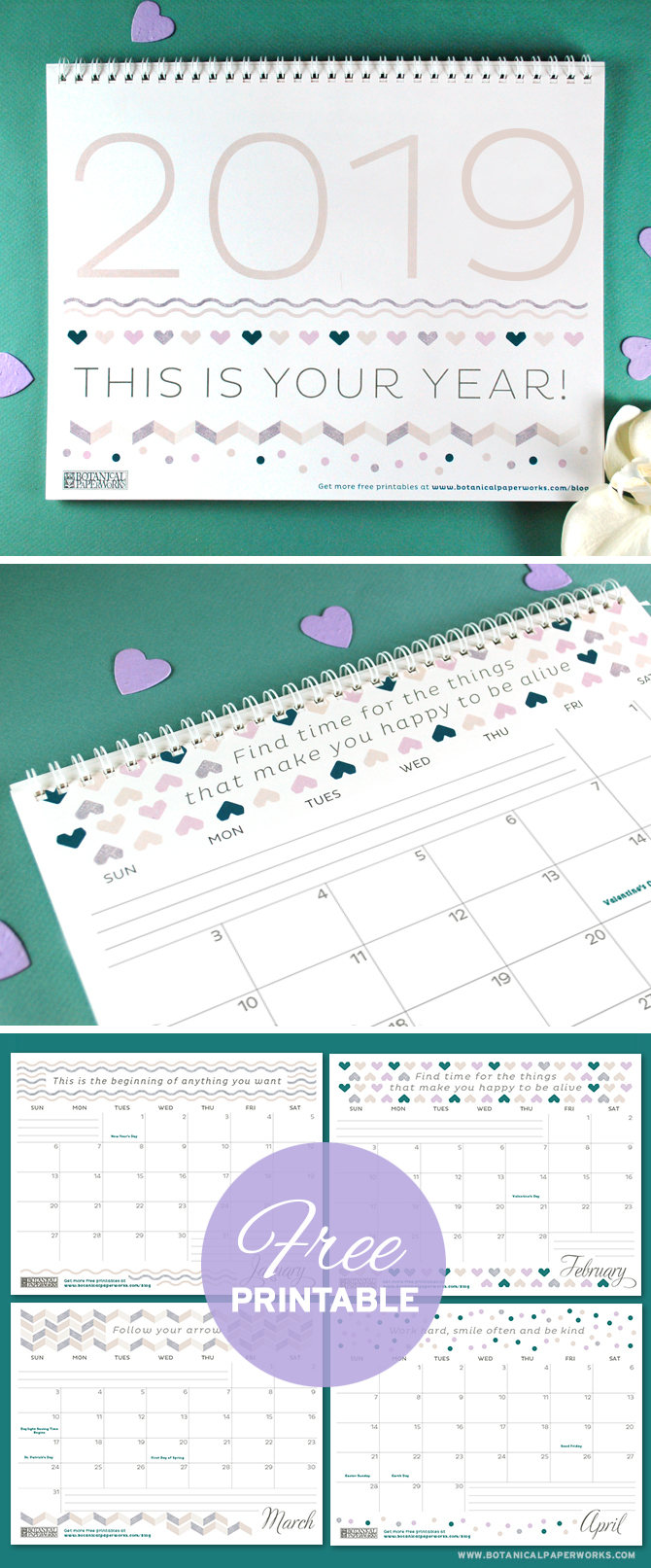 Keep track of life's special moments and feel inspired by the motivational quotes with this free printable calendar. See more designs and download your favorite 2019 calendar on our blog!