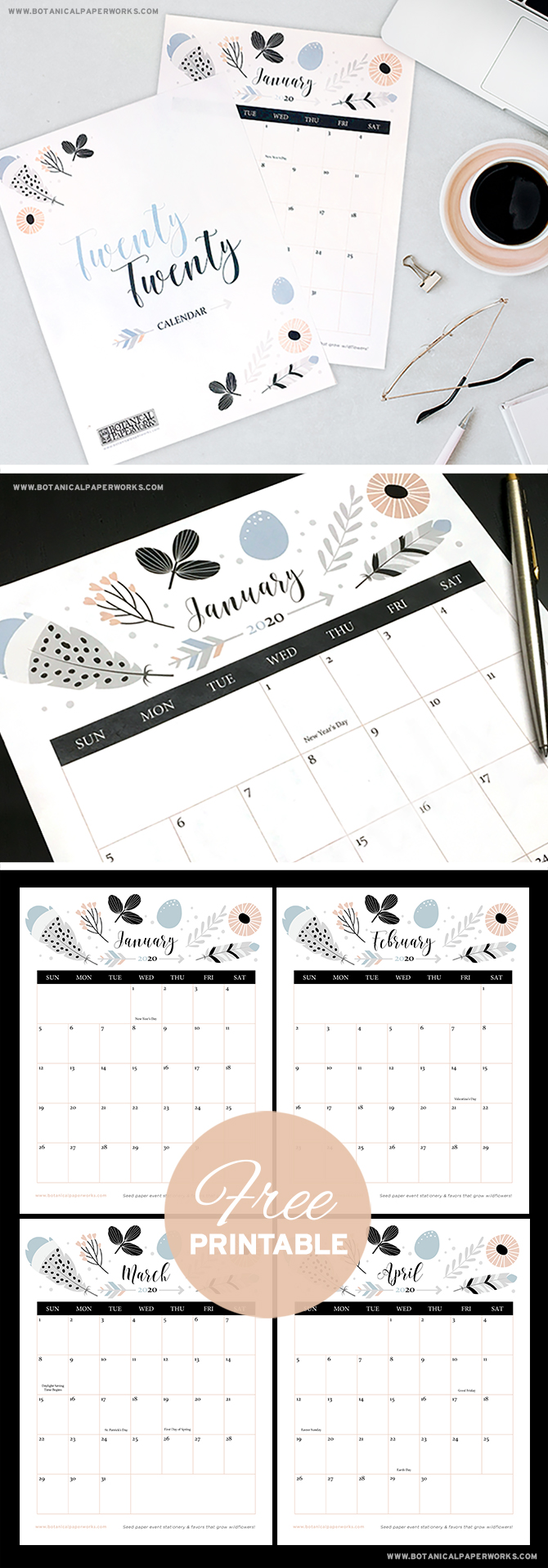 Download and print this stylish Boho Chic calendar to keep track of all your events and appointments in 2020.