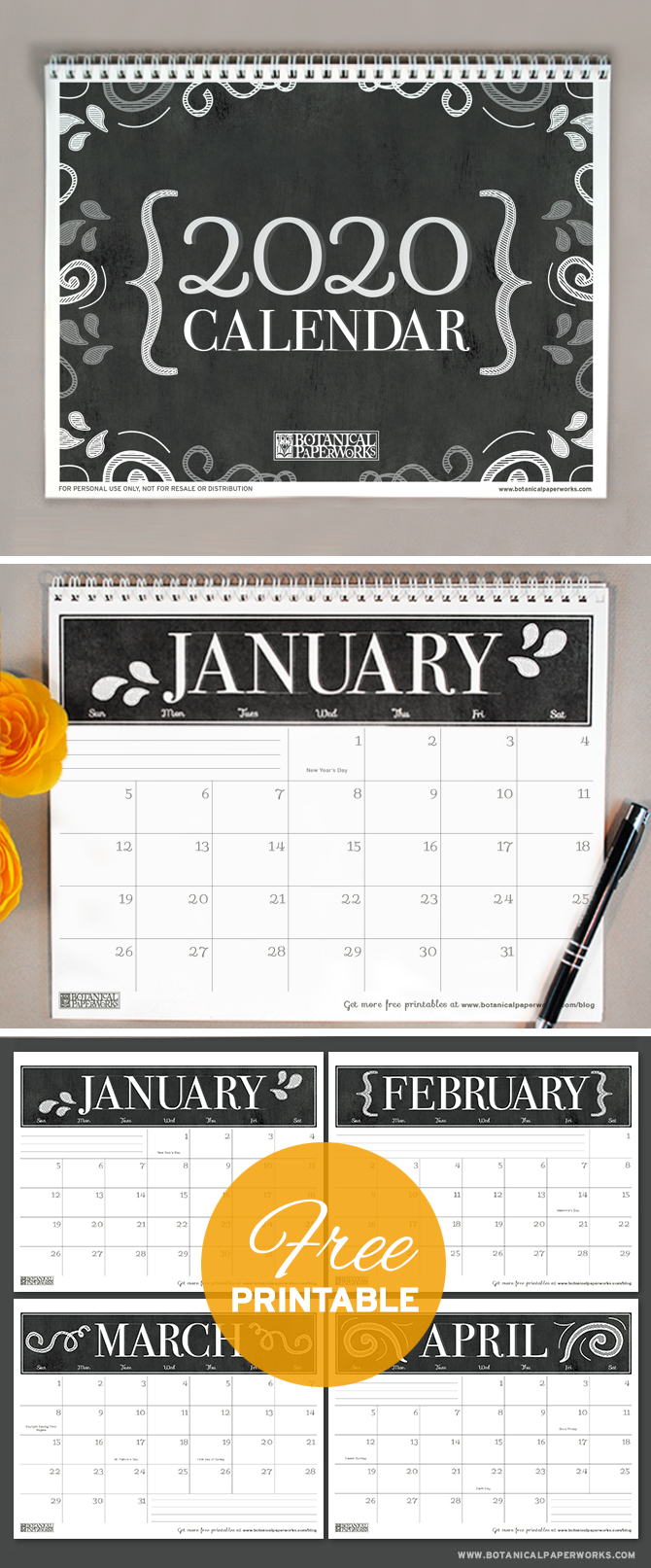 With a sophisticated black and white chalkboard design, this 2020 free printable calendar is perfect for home or office use. See more designs and download your favorite 2019 calendar on our blog!