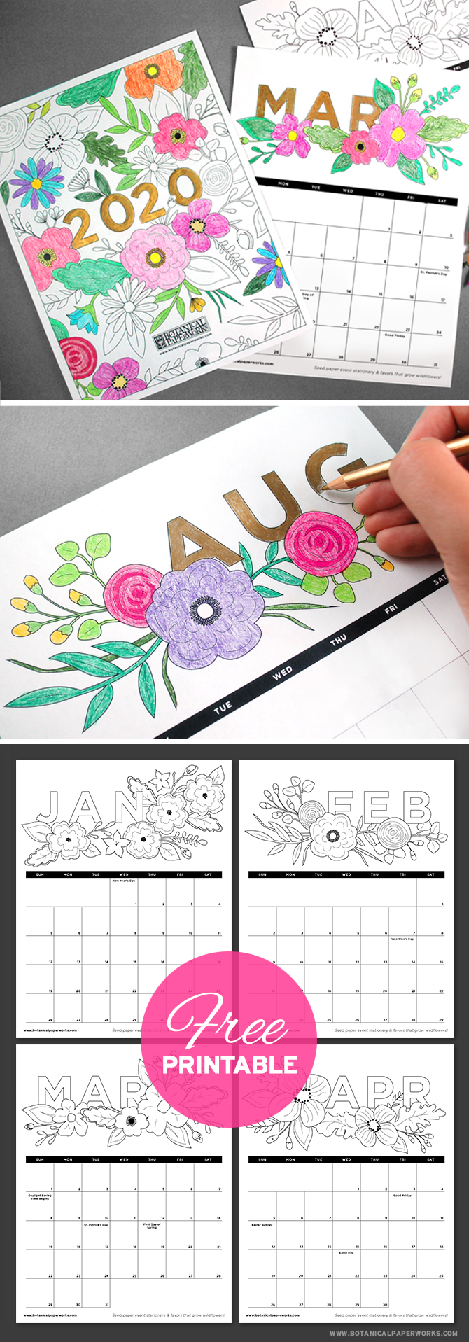 Satisfy the child within and plan for 2020 with this fun Free Printable Coloring Book Calendar! It's filled will floral illustrations that you can color in.