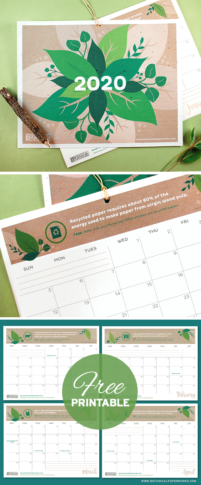 With facts, quotes and tips to help you live a more eco-friendly life, this vibrant Free Printable 2019 Eco Tips Calendar is perfect for those who want to plan a greener future. Simply download and print the PDF at home!