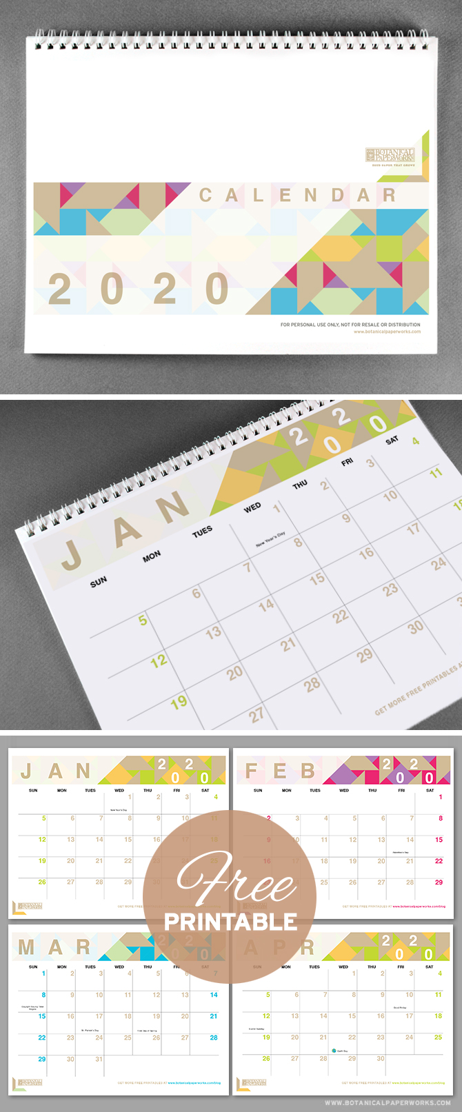 With bright pops of colour and a chic modern design, this 2020 free printable is perfect for capturing all of life's important dates. See more designs and download your favorite 2019 calendar on our blog!