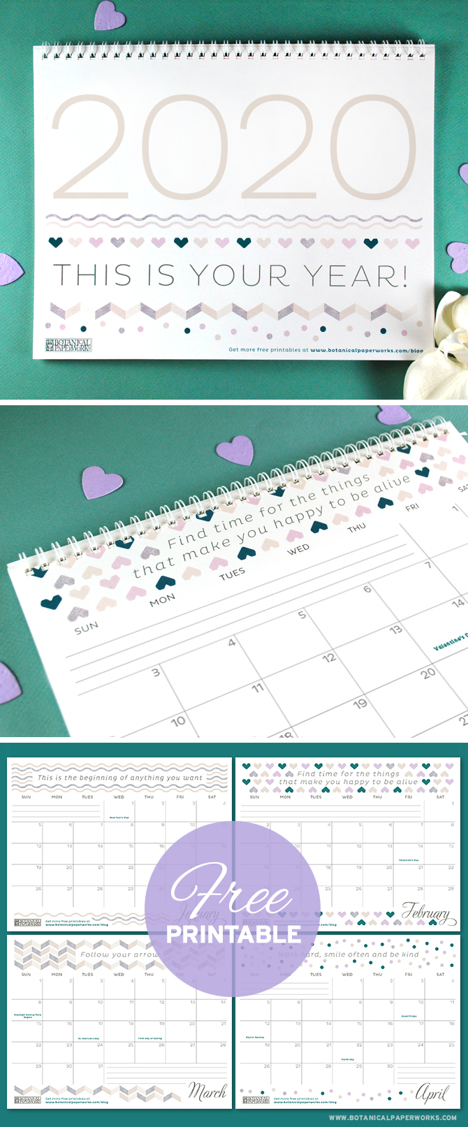 Keep track of life's special moments and feel inspired by the motivational quotes with this free printable calendar. See more designs and download your favorite 2020 calendar on our blog!