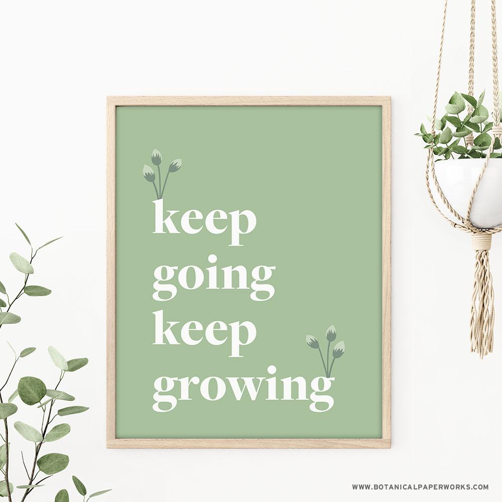 Keep Growing Home Office Wall Art