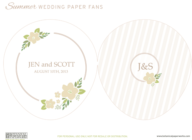 Here is the download file for your beautiful and free printable wedding paper fans!