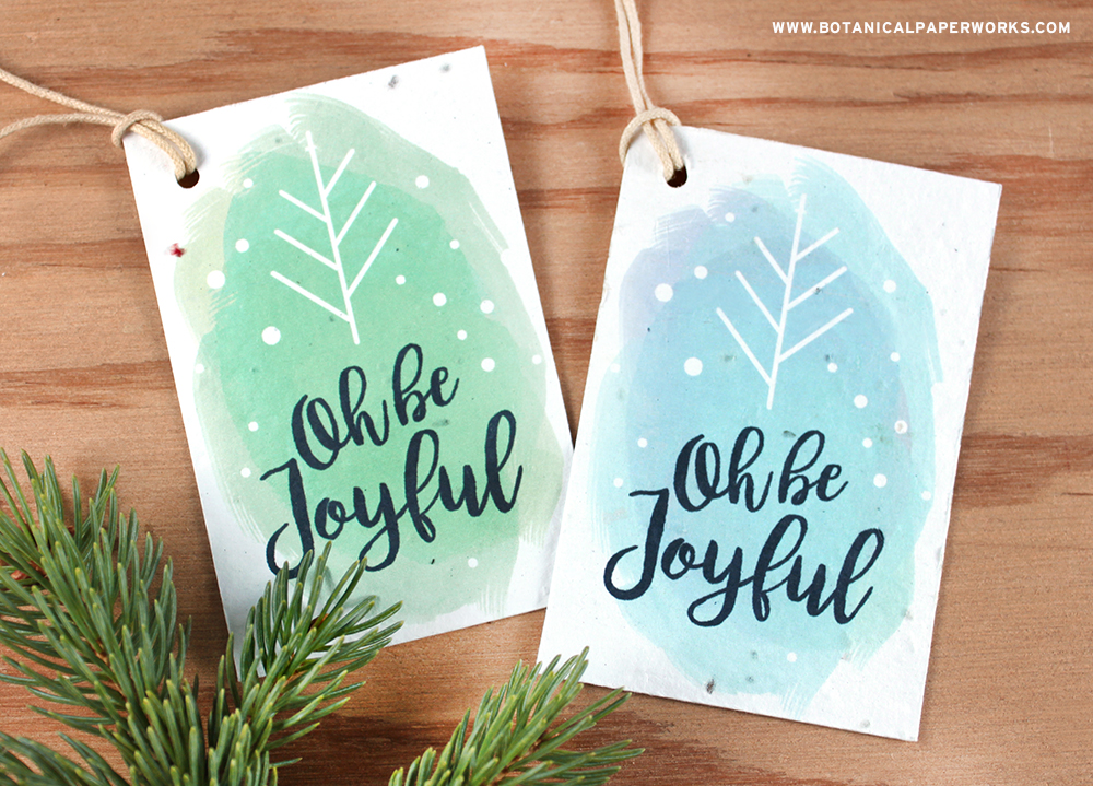 Download a free PDF to make these Seed Paper Tags and get eco-friendly gift wrapping tips.