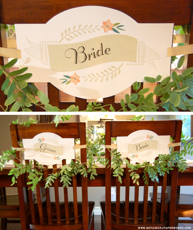 What a great addition these Free Printable Bride and Groom Chair Signs are going to make to your wedding day!