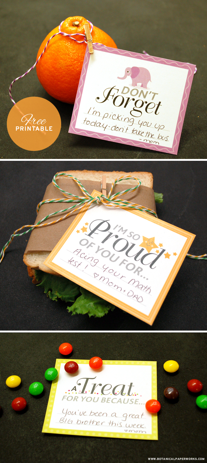 These adorable Free Printable Lunch Notes will put a smile on your child's face and let them know you care.