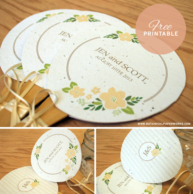 Check out these beautiful wedding seed paper fans from the stylists at Botanical PaperWorks. The fans double as favors that can be planted to grow wildflowers, get the free printable here!