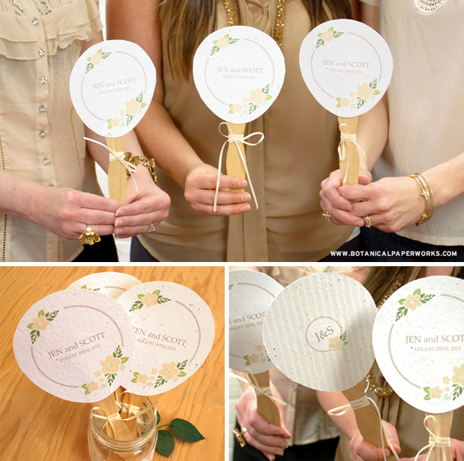Here's a great free printable and DIY for all you crafty brides out there. As a bonus, print them on seed paper and your fans will double as a favor for guests to plant and grow wildflowers!