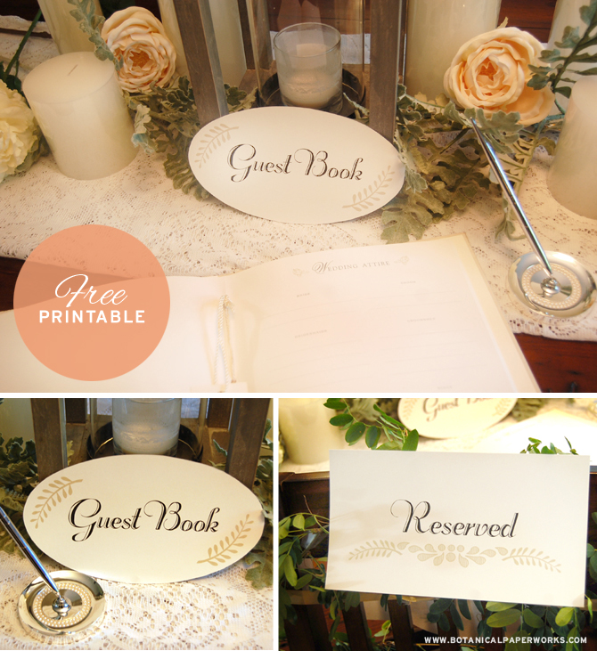 To Pull all the details of your wedding day together, the stylists at Botanical PaperWorks are also giving you coordinating Free Printable Reserved Seating Signs and Guest Book Signs.