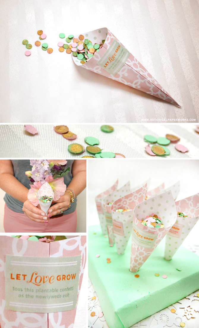 These are such a great idea for weddings! These free printable wedding confetti cones from Botanical PaperWorks are adorable and easy to make with their step-by-step tutorial.