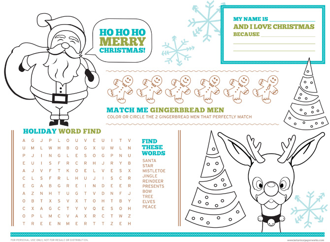 Love this Free Printable Christmas Activity Placemats for Kids and your kids will too.