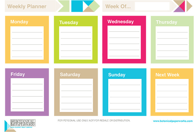 Colorful and bright Free Printable Weekly Planner to keep on track in the New Year.