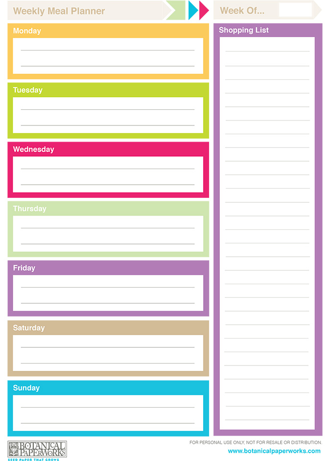 Bright and colorful Weekly Meal Planner Free Printables for you to enjoy.