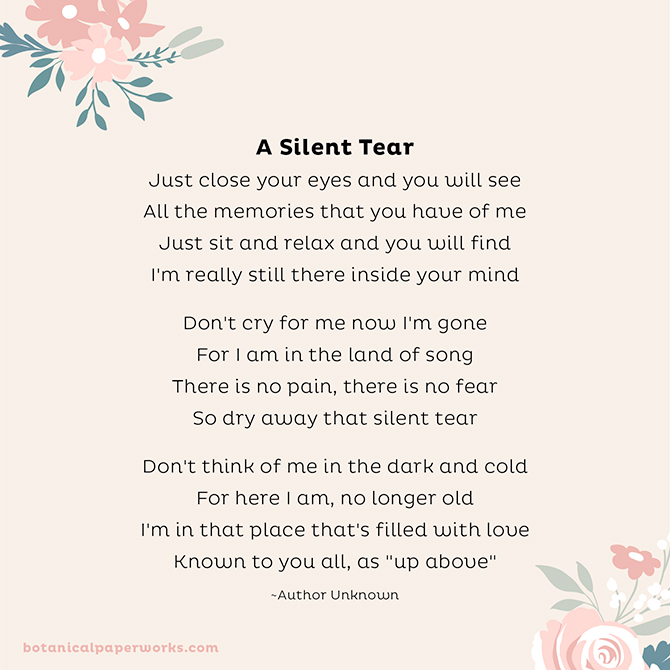 Funeral Poems to Share in Memory: A Silent Tear