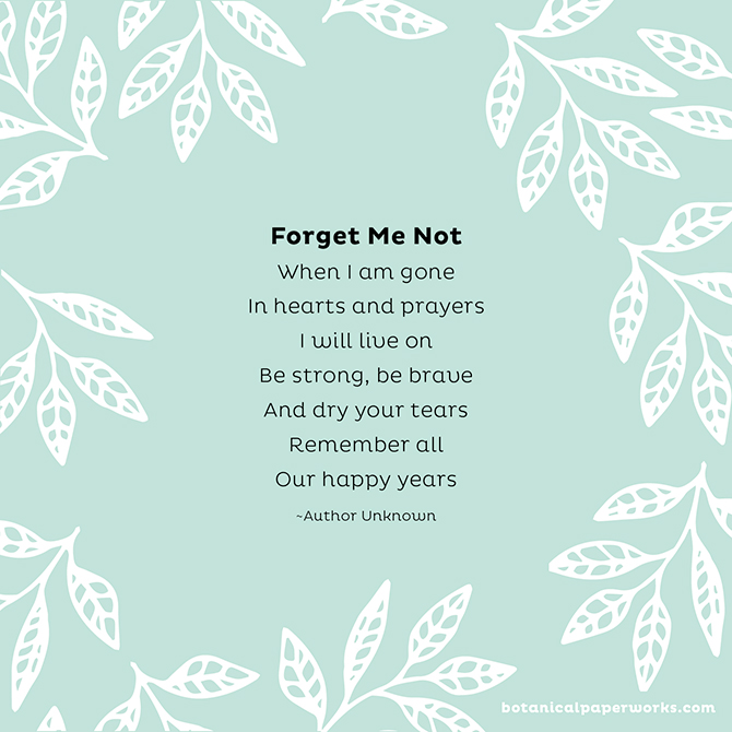 Funeral Poems to Share in Memory: Forget Me Not