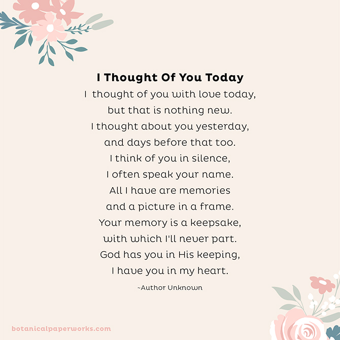 Funeral Poems to Share in Memory: I Thought Of You