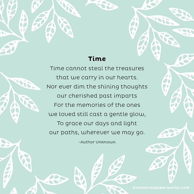 Funeral Poems to Share in Memory: Time