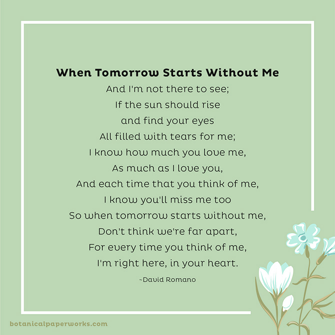 Funeral Poems to Share in Memory: When Tomorrow Starts Without Me