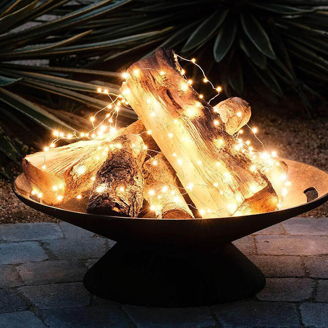 A creative way to create the warming effect of a fire without the flames.