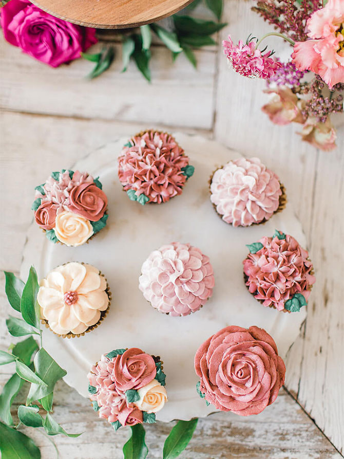 Pretty floral cupcakes decorated for a garden party theme.