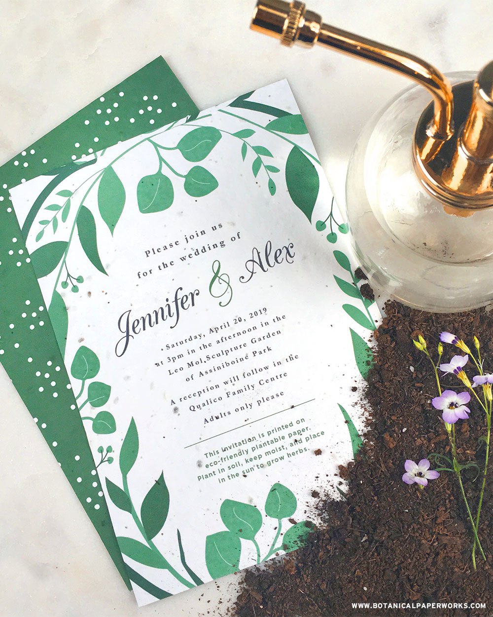 Plantable seed paper wedding invitations are the perfect match for garden party events!