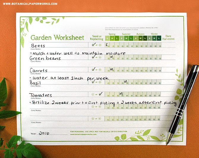 Since the key to successful gardening is proper planning and organization, we've created this Garden Planning Worksheet for you to simply download, print and insert into a binder along with your other gardening resources.