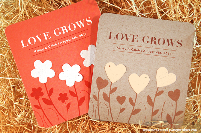 Give your beloved wedding gifts a beautiful and eco-friendly token of appreciation with the new Garden of Love Seed Paper Wedding Favors.