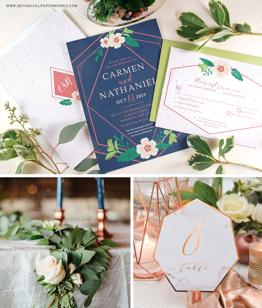 Inspired by rose gold, geometric shapes and organic embellishments, these on-trend plantable wedding invitations will set the tone for a lavish modern wedding.