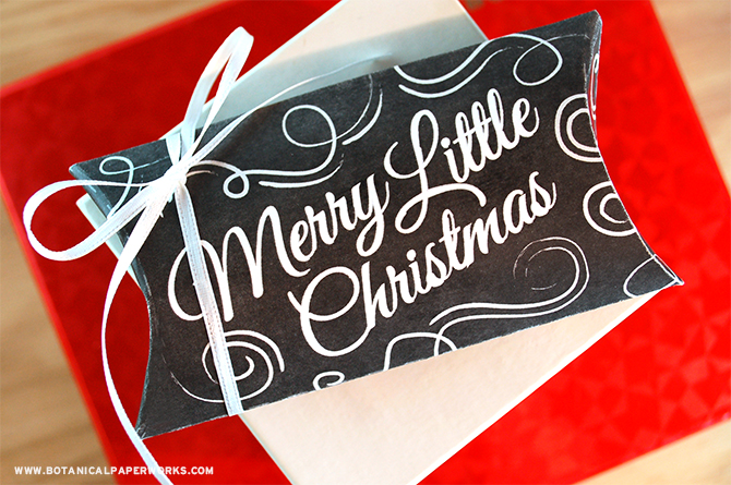 Available in a rustic-white or chalkboard-black, these FREE Pillow Box Gift Box Printables will definitely charm recipients!