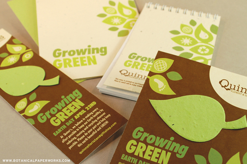 Pre-designed Earth Day promotions that feature natural creams, deep browns and fresh green leaves  with eco-based graphic icons.