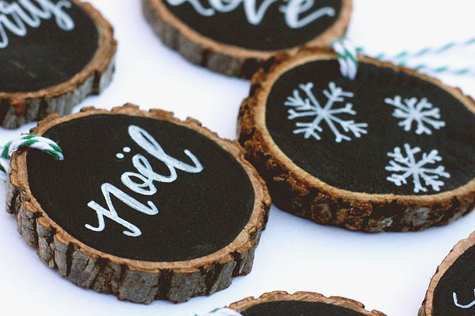 Get more ideas like these rustic wood ornaments to make holiday gifts that are sweet, memorable and eco-friendly in this round up of Homemade Holiday Gifts.