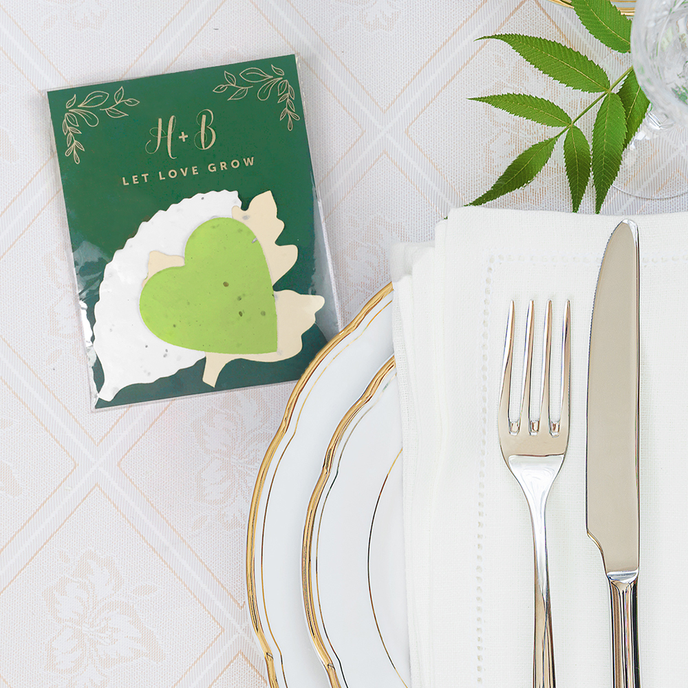 Herb Garden Eco-friendly Wedding Favors include 3 seed paper shapes so your guest can grow their own herbs to cook with!
